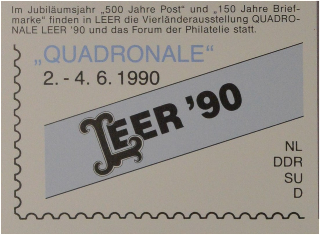 sonderblatt der sonderpostkarte quadronale leer 1990 europa cept briefmarkenhaus engel. Black Bedroom Furniture Sets. Home Design Ideas