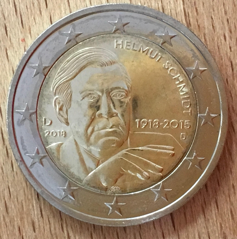 Deutschland 2018 2 Euro Gedenkmünze Altkanzler Helmut Schmidt