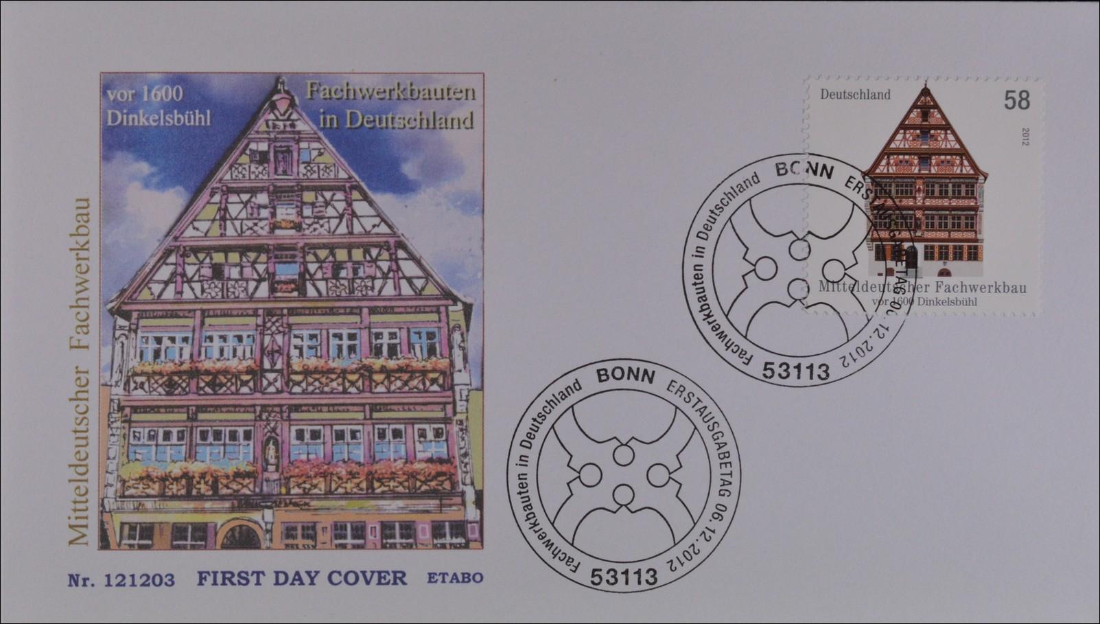 Bund brd germany ersttagsbrief fdc 2012 nr 2970 for Fachwerkbauten deutschland